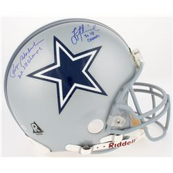"Roger Staubach  Troy Aikman Signed Cowboys Authentic On-Field Full Size Helmet Inscribed ""2x SB Cham"