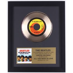 "The Beatles Custom Framed 12.75x15.75 Gold Plated ""All You Need Is Love"" Record Album Award Display"