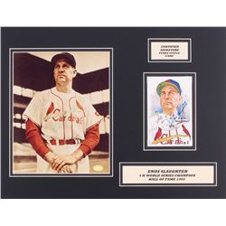 Enos Slaughter Signed Twice Cardinals 14x18 Custom Matted 8x10 Photo Display With 1981 Perez Steele