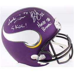 "Harrison Smith  Andrew Sendejo Signed Vikings Custom Matte Purple Full-Size Helmet Inscribed ""Skol!"""