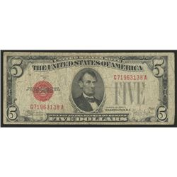 1928-E $5 Five-Dollar Red Seal United States Legal Tender Bank Note