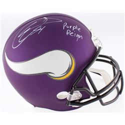 "Eric Kendricks Signed Vikings Custom Matte Purple Full-Size Helmet Inscribed ""Purple Reign""  (TSE CO"
