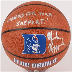 "Mike Krzyzewski Signed Duke Blue Devils Logo Basketball Inscribed ""Thanks For Your Support!"" (Becket"