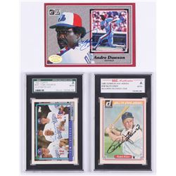 Lot of (3) Signed Baseball Cards With (2) Graded SGC (Encapsulated)  (1) Andre Dawson 1983 Donruss A