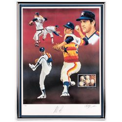 """Nolan Ryan Signed Astros """"The Express"""" 18x24 Limited Edition Christopher Paluso Lithograph (JSA ALOA"""