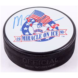 Mike Eruzione Signed 1980 Miracle On Ice Logo Puck (MAB Hologram)
