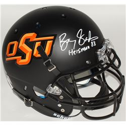 "Barry Sanders Signed Oklahoma State Cowboys Full-Size Authentic On-Field Helmet Inscribed ""Heisman 8"