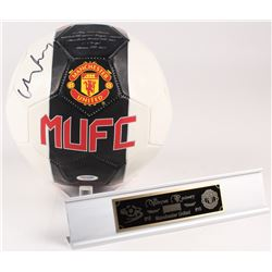 Wayne Rooney Signed Manchester United Logo Soccer Ball with Display Stand (PSA Hologram)