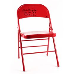 "Bob Knight Signed Folding Chair Inscribed ""76, 81, 87 Champs"" (Schwartz COA)"
