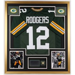 Aaron Rodgers Packers 34x38 Custom Framed Jersey Display with Replica Super Bowl Ring