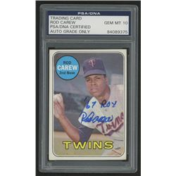 """Rod Carew Signed 1969 Topps #510 Inscribed """"67 ROY"""" (PSA Encapsulated)"""