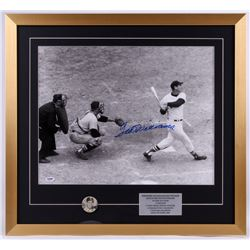 Ted Williams Signed Red Sox 24x26 Custom Framed Photo with Pin (PSA LOA)