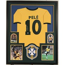 Pele Signed Team Brazil 34x42 Custom Framed Jersey Display (PSA COA)