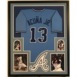 Ronald Acuna Jr. Signed Braves 34x42 Custom Framed Jersey Display (JSA COA)