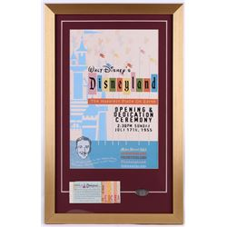 Disneyland Opening Day Ceremony 16.5x26 Custom Framed Print Display with Vintage Ticket Booklet  Pre