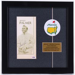 Arnold Palmer Signed 15x15 Custom Framed Program Display with Masters Golf Patch (PSA COA)