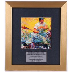 "LeRoy Neiman ""Mickey Mantle"" 12.5x14 Custom Framed Print Display"