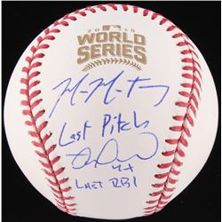 "Mike Montgomery  Miguel Montero Signed Official 2016 World Series Baseball Inscribed ""Last Pitch""  """