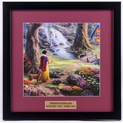 "Thomas Kinkade Walt Disney's ""Snow White and the Seven Dwarves"" 18x18 Custom Framed Print"