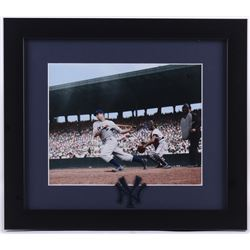 Joe DiMaggio Yankees 13x15 Custom Framed Photo Display with Patch