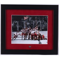 "1980 ""Miracle on Ice"" Team USA 13x15 Custom Framed Photo Display with Vintage Pin"