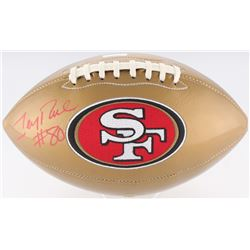 Jerry Rice Signed 49ers Logo Gold  Leather Football (Radtke COA)