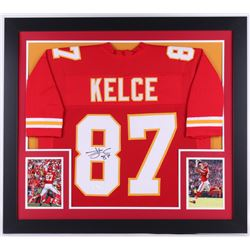 Travis Kelce Signed Chiefs 31.5x35.5 Custom Framed Jersey (JSA COA)