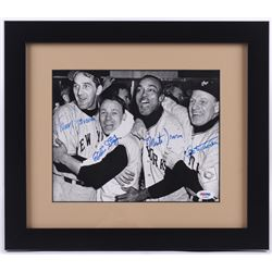 Leo Durocher, Eddie Stanky, Larry Jansen  Monte Irvin Signed 13x15 Custom Framed Photo (PSA LOA)