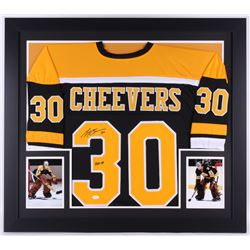 "Gerry Cheevers Signed Bruins 31.5x35.5 Custom Framed Jersey Inscribed "" HOF 85"" (JSA COA)"