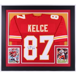 "Travis Kelce Signed Chiefs 31.5"" x 35.5"" Custom Framed Jersey (JSA COA)"