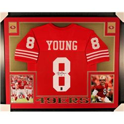 Steve Young Signed Signed 49ers 35x43 Custom Framed Jersey Display (Young Hologram)