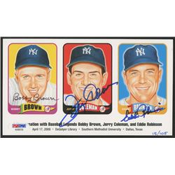 Bobby Brown, Jerry Coleman,  Eddie Robinson Signed 4.5x7.75 LE Card (PSA LOA)