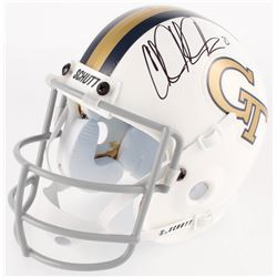 "Calvin Johnson Signed Georgia Tech Yellow Jackets Throwback Mini Helmet Inscribed ""Go Boilers!"" (JSA"