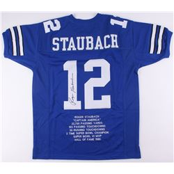 Roger Staubach Signed Cowboys Career Highlight Stat Jersey (JSA COA)