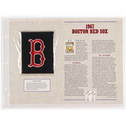 Official Cooperstown Collection 1967 Boston Red Sox Patch Card with 9x12 Scorecard