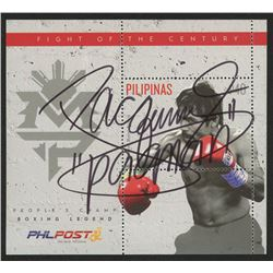 "Manny Pacquiao Signed Original Uncut LE Collectible Postage Stamp from The Phillipines Inscribed ""Pa"