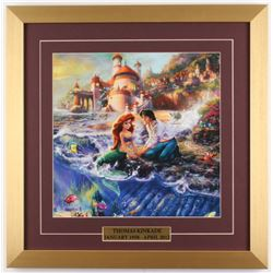 "Thomas Kinkade Walt Disney ""The Little Mermaid II"" 18x18 Custom Framed Print"