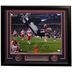 Rob Gronkowski Signed Patriots 22x27 Custom Framed Photo Display (JSA COA)