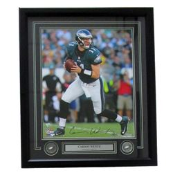 "Carson Wentz Signed Eagles 22x27 Custom Framed Photo Display Inscribed ""AO1"" (Fanatics)"