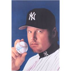 Roger Clemens Signed Yankees 23x34 Photo On Canvas (PSA Hologram)