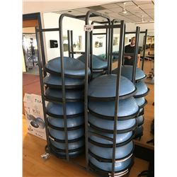 MOBILE RACK WITH 16 BOSU BALL BALANCE TRAINERS