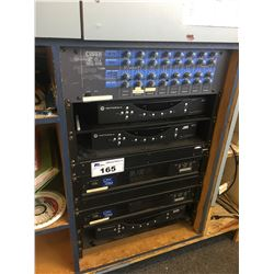 PAIR OF QSC CX204V AMPLIFIERS & CLOUD 8 ZONE MIXER