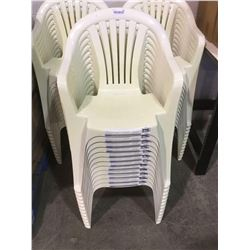 Lot of 12 white resin patio chairs ( sold as one lot of 12 for one price)