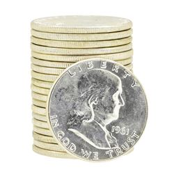 Tube of 20 1961 Franklin US Half Dollars
