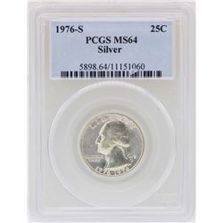 1976-S Washington Quarter Silver Coin PCGS MS64