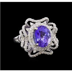 5.92 ctw Tanzanite and Diamond Ring - 14KT White Gold