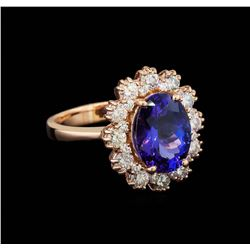 3.83 ctw Tanzanite and Diamond Ring - 14KT Rose Gold