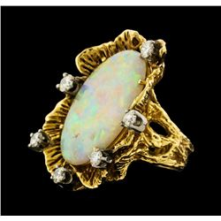 8.75 ctw Opal and Diamond Ring - 14KT Yellow Gold
