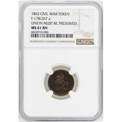 1863 Civil War Token Union Must Be Preserved NGC MS61BN