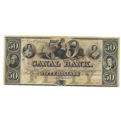 1800's $50 Canal Bank, New Orleans, LA Obsolete Bank Note